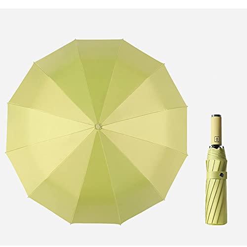 verde claro,Paraguas, paraguas a prueba de viento de apertura y cierre automático de 12 varillas, compacto e irrompible, paraguas de viaje impermeable, paraguas portátil con mango ergonómico