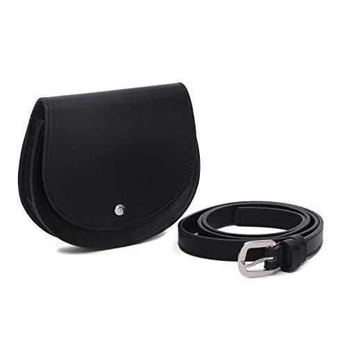 GLITZALL Damen Hüfttasche Ledergürtel Bauchtasche mit Abnehmbaren Gürtel Quaste Taille Beutel Mode Gürteltaschen (Schwarz)