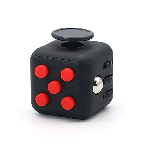 Appash Fidget Cube Stress Anxiety Pressure Relieving Toy Great for Adults and Children[Gift Idea][Relaxing Toy][Stress Reliever][Soft Material](Black & Red)
