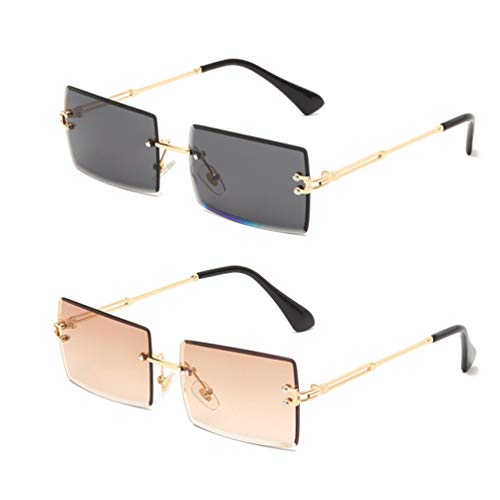 Long Keeper Gafas de sol rectangulares sin montura UV400 Gafas cuadradas sin marco de moda antideslumbrante para mujer (Gris dorado+Marrón degradado dorado)