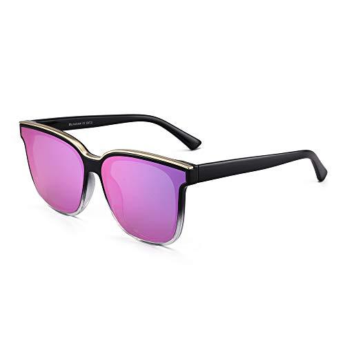 GLINDAR Gafas de Sol Cuadradas Clásicas Para Mujeres y Hombres Gafas de Espejo UV400 de Gran Tamaño Montura Negra / Lente Púrpura Espejo