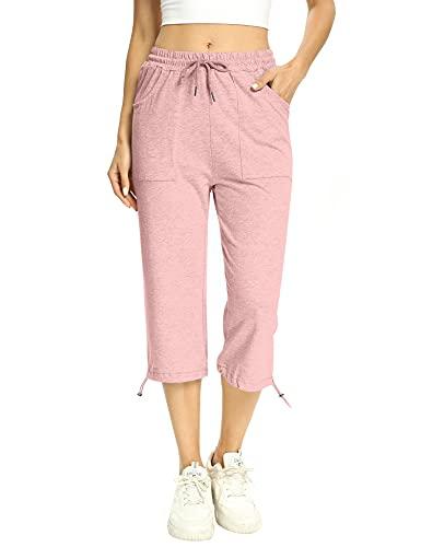 Irevial Pantalones Deportivos para Mujer Pantalón de Chándal con Bolsilos y Cordón para Fitness Deportes Correr Jogging