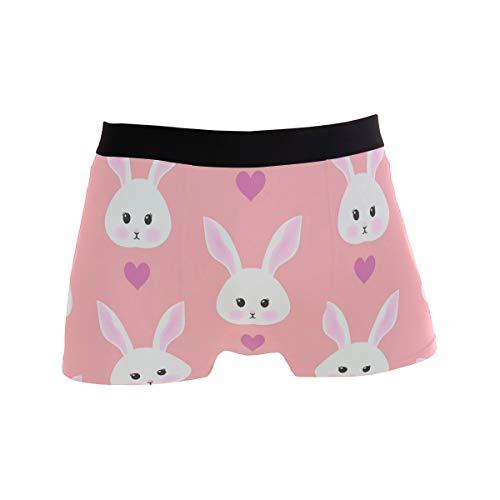Pink Boxershorts mit niedlichem Hasen-Muster, für Herren, Jungen, Jugendliche, Herren, Polyester, Spandex, atmungsaktiv, Rosa Gr. S, mehrfarbig