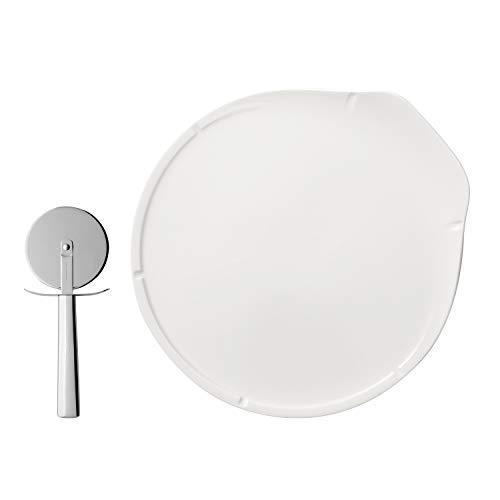 Villeroy & Boch 10-4172-8719 Passion Ensemble 3 pièces, 2 Assiettes Plates en Porcelaine Premium, Roulette à Pizza Incluse, Blanc