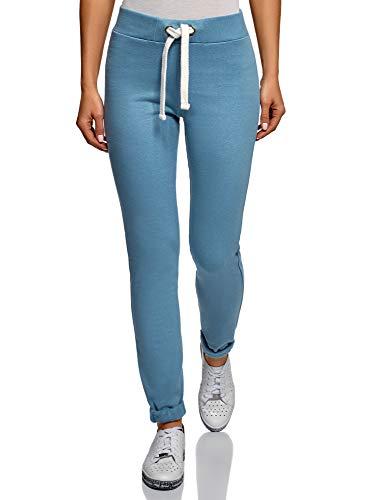 oodji Ultra Damen Sporthose mit Dekorativen Bindebändern, Blau, DE 36 / EU 38 / S
