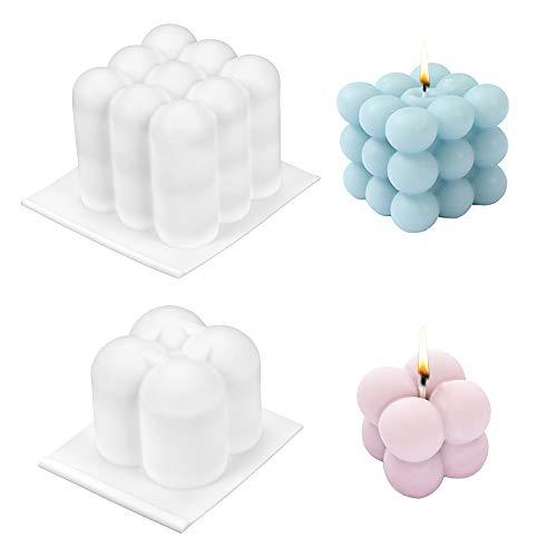 Kerzen Silikonform, 2PCS Kerzenformen,3D Ball Cube Silikon Mold, Kunststoff Mold für Handwerk Ornamente Seifen Kerzen Süßigkeiten Die Herstellung Von Pralinen Hausgemachte Geschenk, Kerzen Giessformen