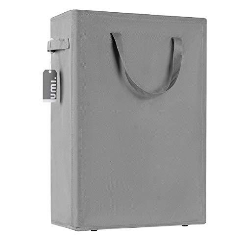 Amazon Brand – Umi 45L Slim Wäschekorb mit Griffen Kleine Tragbare Wäschekorb Dünne Schmale Schmutzige Wäschekorb Zusammenklappbare Kleidung Vorratsbehälter – 21 Zoll Grau
