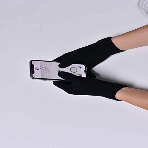 Winter Keep Warm Mittens Gloves for Man Women Knit Touch Screen Gloves Warm Student Gloves - (Color: Black, Gloves Size: One Size)