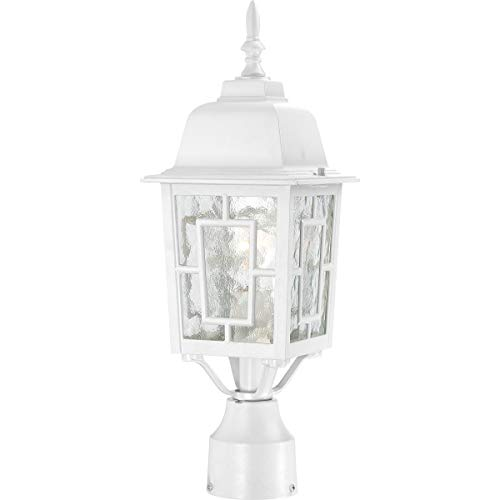 Nuvo Lighting 60/4927 Banyon One Light Post Lantern 100 Watt A19 Max. Clear Water Glass White Outdoor Fixture