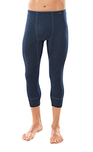 con-ta Thermo 3/4 lange broek met ingreep, lange onderbroek voor heren, warm ondergoed met natuurlijke katoen, herenkleding, kleuren: marine, zwart, maten: 5-10