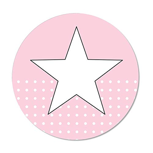 Muismat Star Roze | DV 273, diameter 22 cm rond muismat met antislipvoet/standaard maat witte stippen Ø 22 cm Rosa_Stern