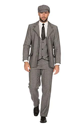WILBERS & WILBERS Sakko tailliert 20er Jahre Peaky Blinders Jacke Herren-Kostüm Schwarz-Weiß Mafia Jackett Gangster, Größe:46