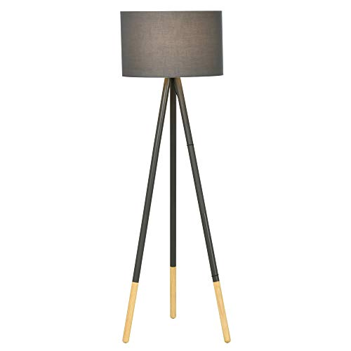 HOMCOM Stylish Steel Tripod Floor Lamp w/Fabric Lampshade Wood Accents Floor Switch Home Style Land Lamp Office Bedroom Modern Grey