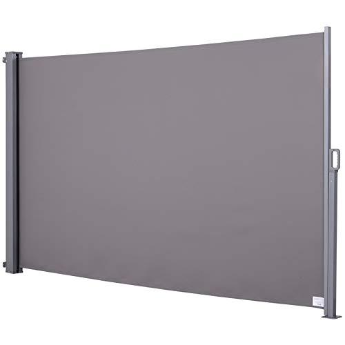 Outsunny Tenda da Sole Laterale e Avvolgibile (3x1.6m) in Alluminio e Poliestere Imperemabile Anti-UV, per Vento/Privacy