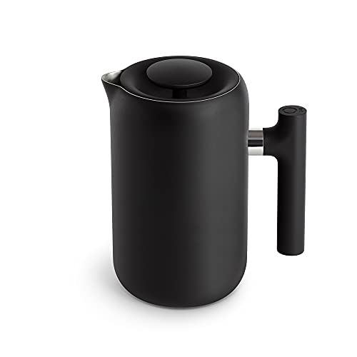 Fellow Clara French Press Coffee Maker - Portable Stainless Steel Coffee Press, Insulated Manual Brewer, Matte Black, 24 oz