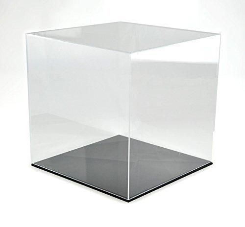 Hansen Vitrine Acryl/Schaukasten/Objektvitrine/Showcase quadratisch, 400x400x400 mm, mit schwarzem Boden
