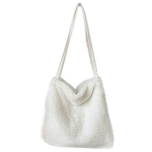 Baalaa Bolso de la compra de la mujer de la bolsa de la felpa del bolso de la mujer mullido bolso de la mano de las señoras bolso de la compra de, color Blanco, talla Talla Unica