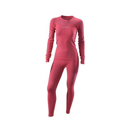 VIKING Ensemble de sous-vêtements thermiques pour femme - Pantalon et t-shirt à manches longues - Sous-vêtements fonctionnels - Avec laine - Lana - 34 - Rose - Taille L