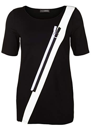Doris Streich Damen Tunika mit schräger Applikation Dekorativer Reißverschluss