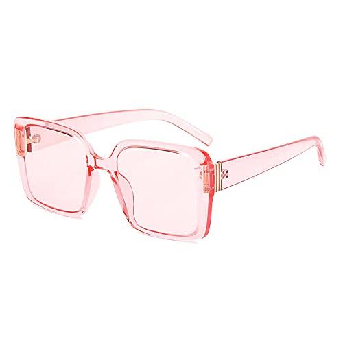 DLSM Vintage Plaza Mujer Gafas de Sol Claro Pink Grey Greywear Moda Gafas de Sol Hombres Sombras UV400 Adecuado para Conducir al Aire Libre Golf-Rosa
