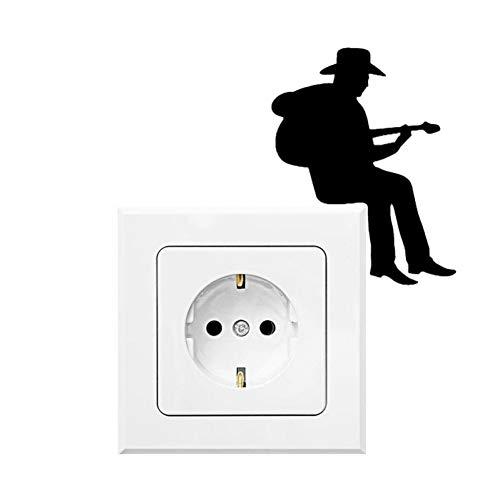 YCEOT Cowboy Speelt gitaar, lichtschakelaarstickers, cartoon-vinylmuuroversticker, hoofddecoratie