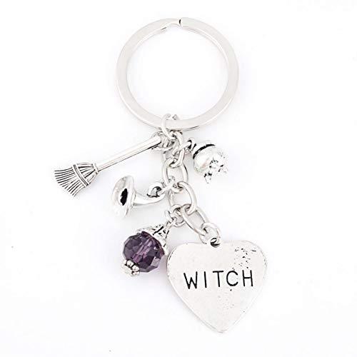 N/A 1 stuks Halloween heks bezem sleutelhanger paars parel sleutelring nieuw gadget vrouwen sieraden accessoires