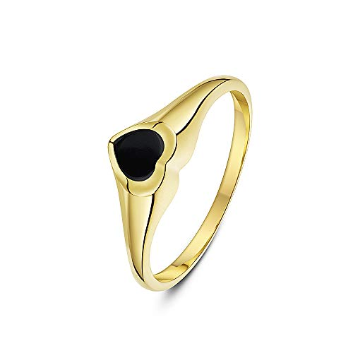Theia Women's 9 ct Yellow Gold, Heart Shape Signet Ring, Set with 5 x 5 mm Grey Onyx Stone, Size H