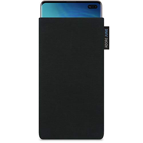Adore June Classic Negro Funda Compatible con Samsung Galaxy S10 Plus / S10+, Material Resistente Efecto Limpiador de Pantalla