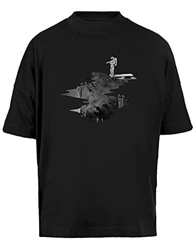 Espacio Buceo Unisex Camiseta Holgada Mangas Cortas Hombre Mujer Negra Baggy T-Shirt Short Sleeves Black