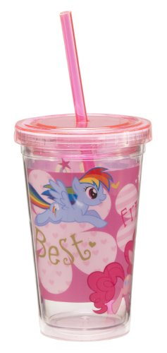 Vandor 42014 My Little Pony 12 oz Acrylic Travel Cup with Lid and Straw, Multicolor