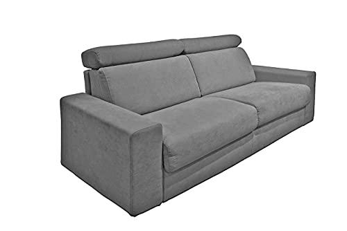 Muebletmoi - Sofá de 2 plazas convertible de 140 cm en tejido microfibra gris con cabeceros ajustables - Torino