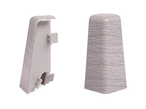 KGM Außenecken für Sockelleiste MEGA-Profil (20 x 58 mm) Eiche hell – Maße: 20 x 58 mm – 2 Stück