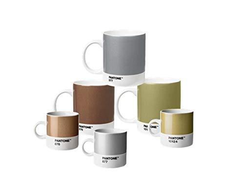 Pantone 18233 Kaffee-& Espressoset Porzellan, aus 3 Kaffeebechern & 3 Espressotassen, Bronze 876, Silver 877 und Gold 10124, Metallic