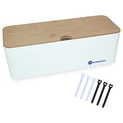 tichbutton Large Cable Management Box with Bamboo Lid 16x6.14x5.3 Inches with 6 Cable Organizer Ties, Hides Cords and Power Strips for Home and Office