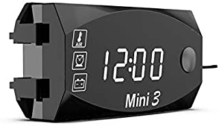 ALLOMN Multi-Functional Car Digital Clock Auto Temperature Gauge Monitor Voltmeter Clock LED Display For Car Motorcycle (White)