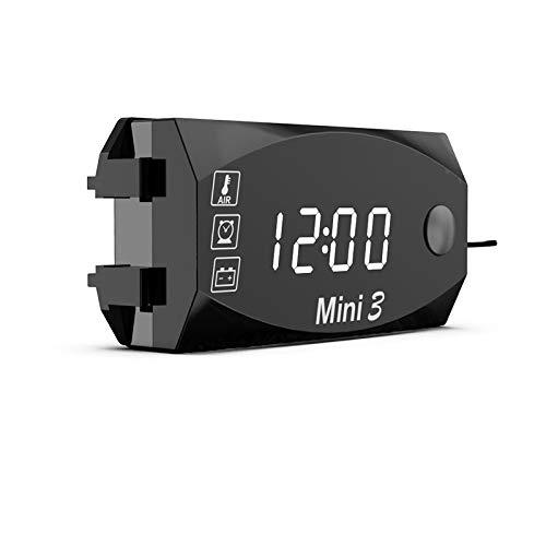 3 in 1 Voltmetro per termometro per orologio da auto Voltmetro per Moto indicatore pannello indicatore avviso lampeggiante Impermeabile Voltmetro Digitale a LED per Moto Auto IP67 impermeabile