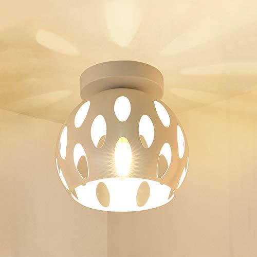 Wankd Lámpara de techo extravagante de puntales de metal blanco, bonitos efectos de luz en el techo, lámpara redonda para salón, casquillo E27