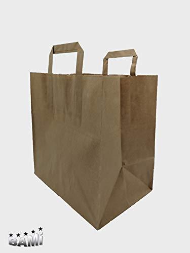 BAMI 250 Stück Papiertragetasche Papiertasche 26 + 17 x 26 cm, BRAUN - 80gr/m, Einkaufstüte Tüte Henkeltasche Tragetasche Papiertüten aus Pappe Recyclebar