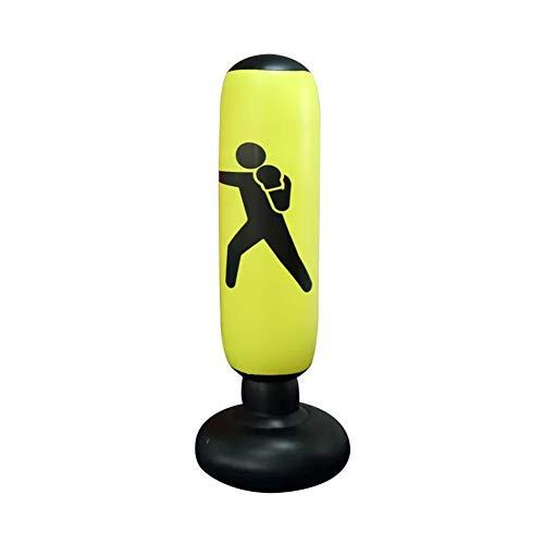 ZBOMR Sacco da Boxe, Sacco da Boxe da Terra 160 cm in Piedi per praticare Karate, Taekwondo e alleviare l energia repressa nei Bambini, Sport Adulto del Sacchetto di Pugilato di addestramento (Giallo)