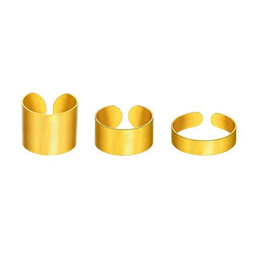 Richsteel 3 Piezas Anillos de Oro Chapado Ajustable, 5MM 10MM 17MM de Ancho