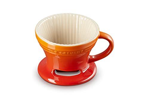 Le Creuset Cafetera de pour-over Seattle, Cerámica de gres, Naranja Volcánico