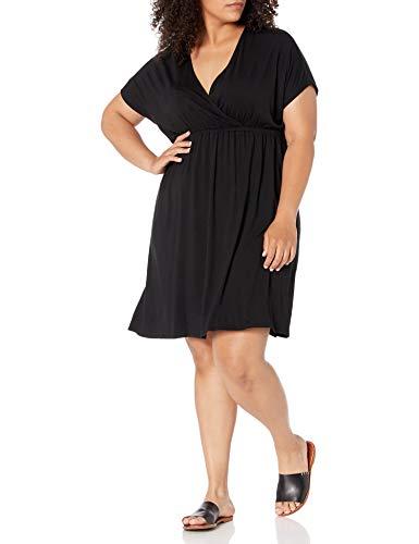 Amazon Essentials Women's Plus Size Surplice Dress, Black, 1X