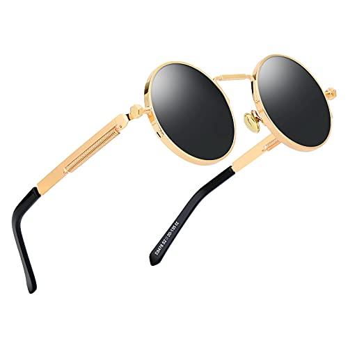 Kennifer Occhiali da sole polarizzati moda classica rotondo, occhiali da sole polarizzati stile vintage Steampunk Occhiali da sole retrò protezione UV400 montatura
