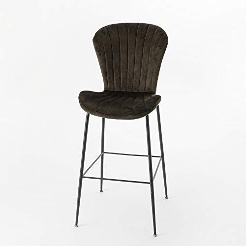 Amadeus - Chaise de Bar Coquillage en Velours Marron (Lot de 2)