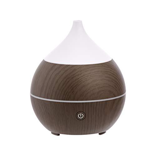 Amazon Basics Difusor de aceites esenciales ultrasónico para aromaterapia, 200ml, con altavoz Bluetooth, base con acabado de madera color café
