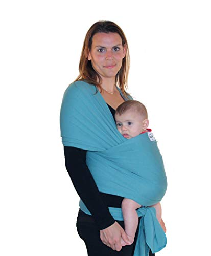 Product Image of the Sale - Aqua Blue Baby Carrier Sling - Small to Plus Size Stretchy Baby Wrap -...