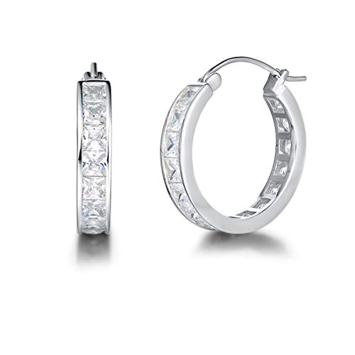 Carleen Sterling Silver Channel Setting Princess Cut Sparkling CZ Cubic Zirconia Simulated Diamond Click-top Medium Huggie Hoop Earrings Fine Jewelry For Women Girls Diameter 20mm Thick 3mm