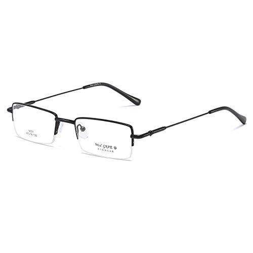 Ultraleichte Rechteckige Lesebrille aus Edelstahl mit Federscharnieren Sehehilfe für Damen und Herren mit Halbrahmen Lesehilfe(Schwarz,+2.5)