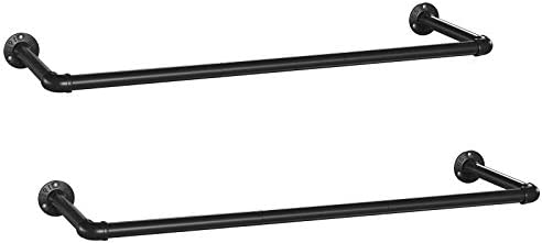SONGMICS Wall-Mounted Clothes Rack, Set of 2, Industrial Pipe Clothes Hanging Bar, Space-Saving, 36.2 x 11.8 x 2.9 Inches, Each Holds up to 110 lb, Easy Assembly, for Small Space, Black UHSR67BK02