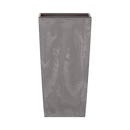 Maceta Alta 11,4 L Prosperplast Urbi Square Effect de plástico con depósito en Color Gris Claro, 37,5 (Alto) x 19,5 (Ancho) x 19,5 (Profundo) cms